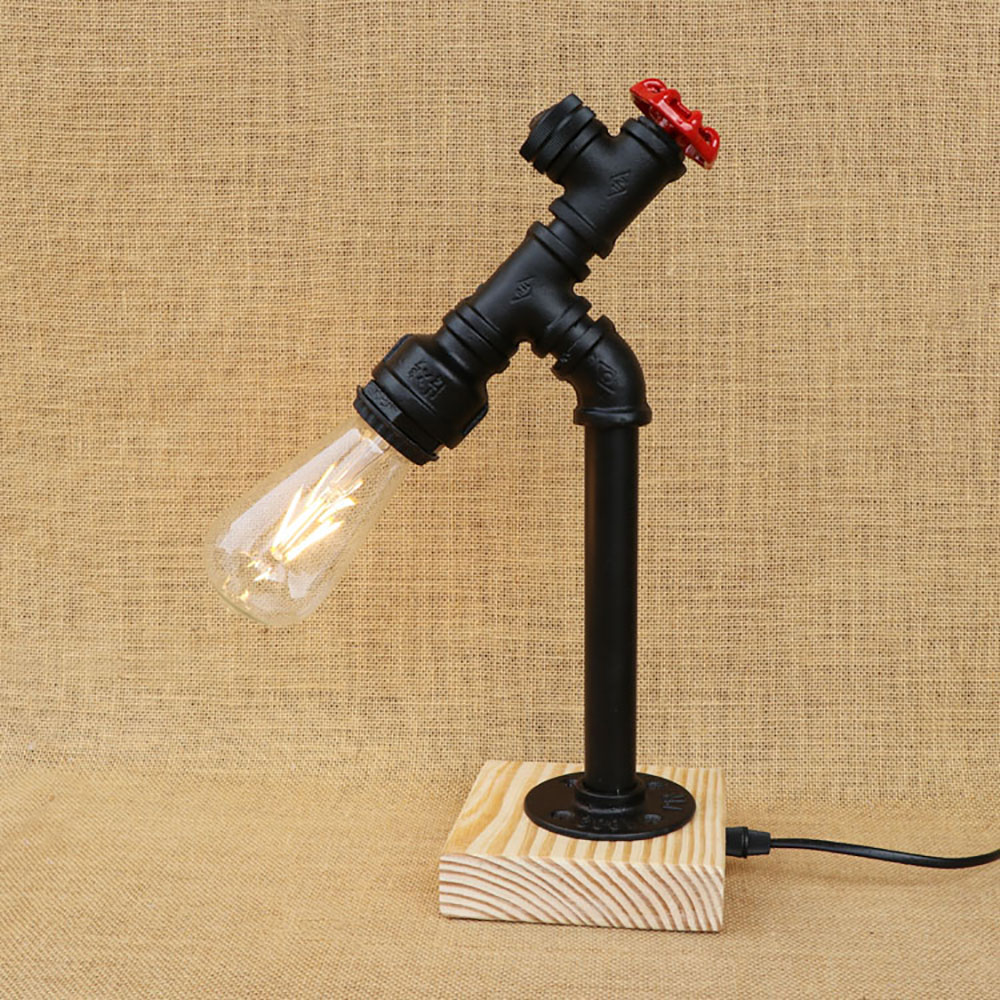 Art deco retro table lamp black workroom water pipe steam punk e27 / e26 led lights sconce for bedroom bedside workshop officeArt deco retro table lamp black workroom water pipe steam punk e27 / e26 led lights sconce for bedroom bedside workshop office