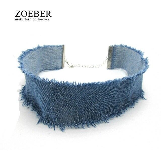 ZOEBER Stylish 3CM Width Blue Denim Choker for Women Distressed Denim Jeans Choker Chockers Necklace Jewelry Collier Ras Du Cou