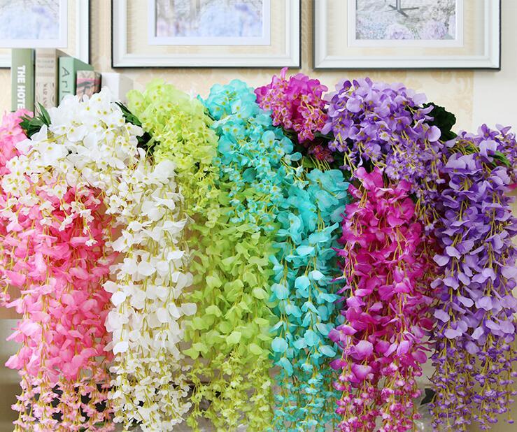 110cm artificial ivy flowers silk flower wisteria vine rattan for wedding centerpieces. Black Bedroom Furniture Sets. Home Design Ideas