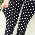 2016 New Black and White Dots Leggings High Elastic Fabrics Women Polka dot ankel-length pants