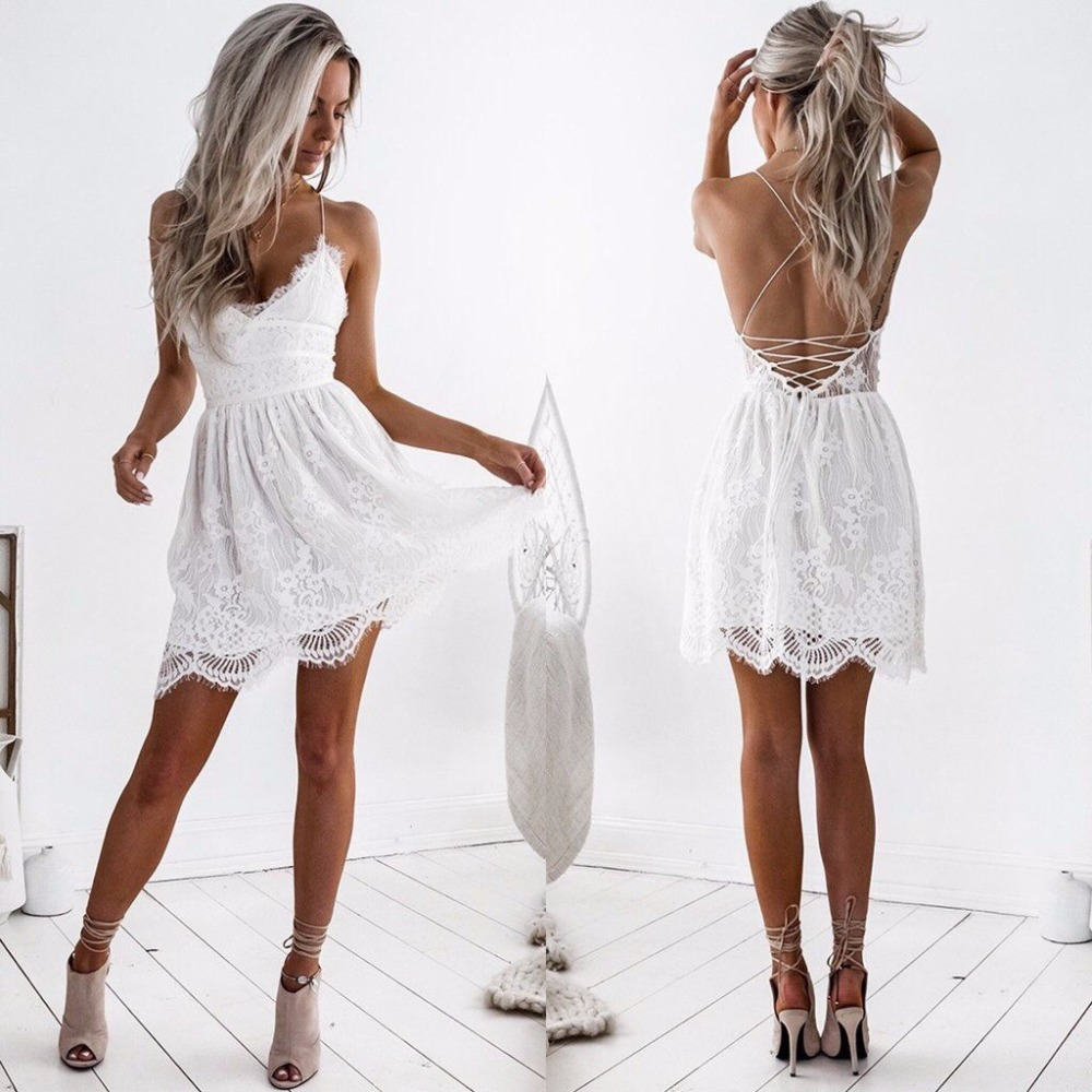 Cute white lace backless dress