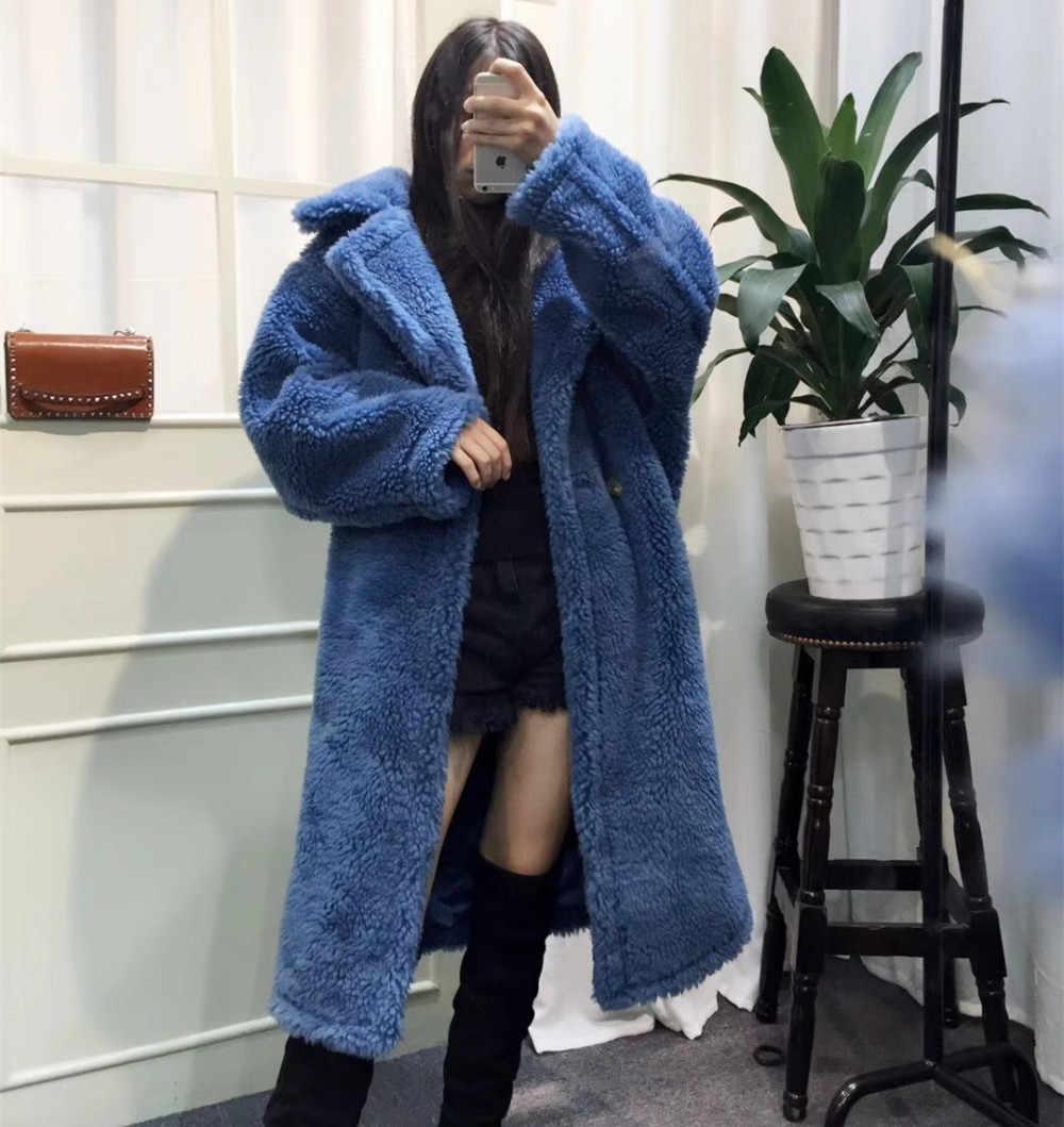 82c41145c ... Winter Real Fur Coat Teddy Bear Brown Fleece Jackets Women's Fashion  Suit Collar Alpaca Thick Overcoat ...
