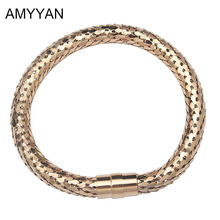 AMYYAN Fashion Jewelry Women Bracelet Magnetic Bracelets Bangles Shiny Black and Gold Color Bracelet for Couple Love Design