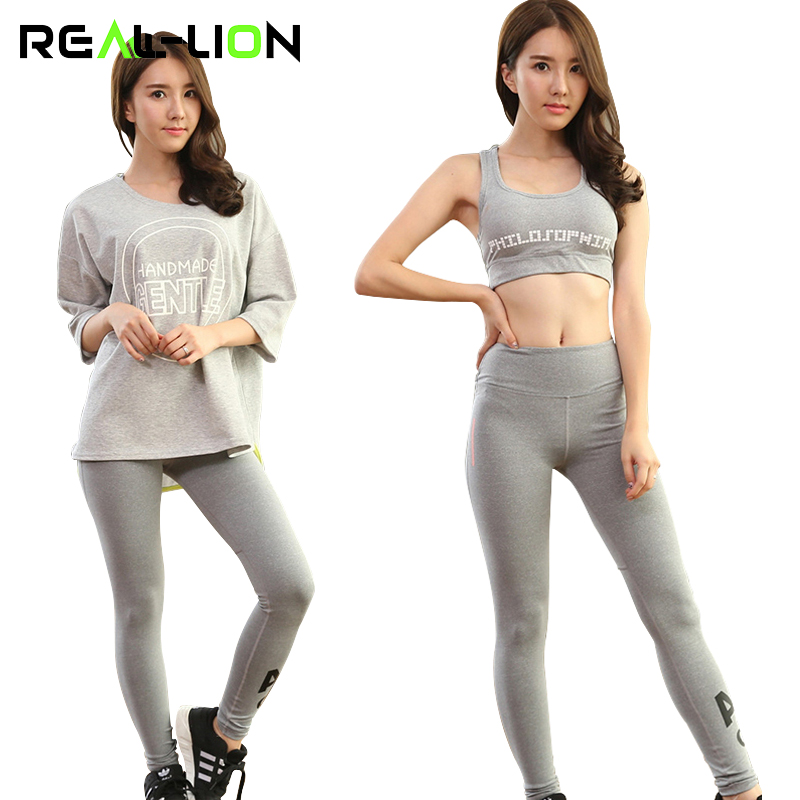 RealLion Three-piece Sport Suit Yoga Set Bra Pullover Pants Women Quick Dry Running Suit Badminton Daily Wear wwd women s wear daily 2012 11 26