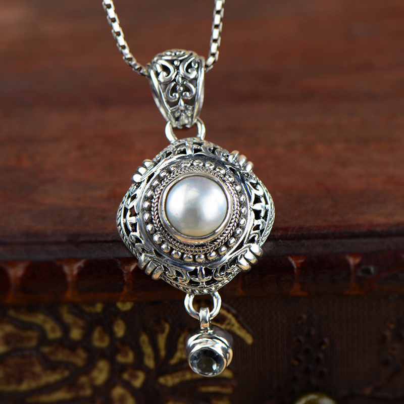 Real Pure Sterling Silver 925 Pendant For Women With Shell Pearls Ethnic Antique Retro Fine Jewelry