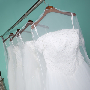 Image 5 - طويل 160 سنتيمتر 180 سنتيمتر شفافة لينة تول غطاء غبار للمنزل ملابس الزفاف فستان الملابس فستان زفاف حامي شبكة الغزل AC017