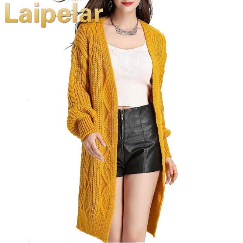 Casual knitting long cardigan female Loose knitted jumper 2018 warm winter sweater women Laipelar Autumn Coat
