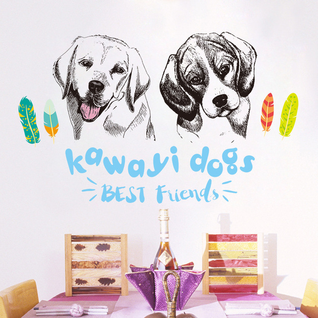 Labrador Sketsa Dinding Stiker Lucu Kartun Hewan Pet Dog Vinyl