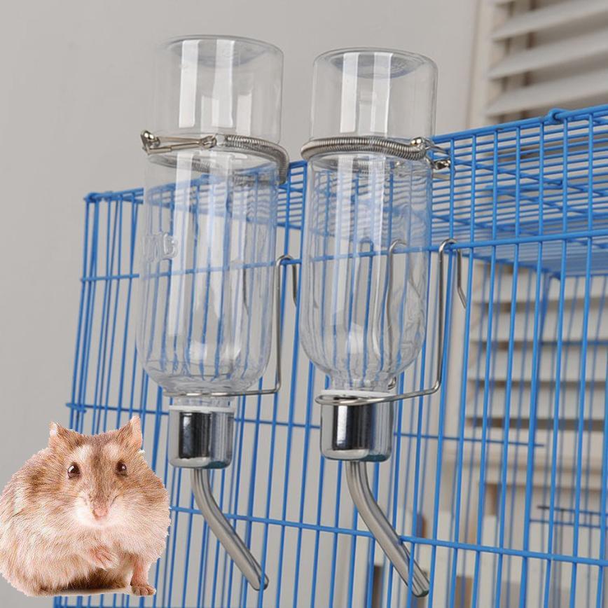 Pet Rodent Mice Jogging Hamster Gerbil Rat Toy Stainless Steel 180ml 350ml Drinking Straws Water Bottle Feeder Pet Rat Hamster