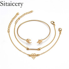 Sitaicery 3PCS/Set Star Moon Bohemian Bracelets For Women Summer Charms Adjustable Gold Bracelet Bangles Jewelry Valentines Gift