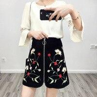 2017 Spring Summer European Fashion Suede Material Embroidery Short Skirt Empire Slim Women A Line Skirt