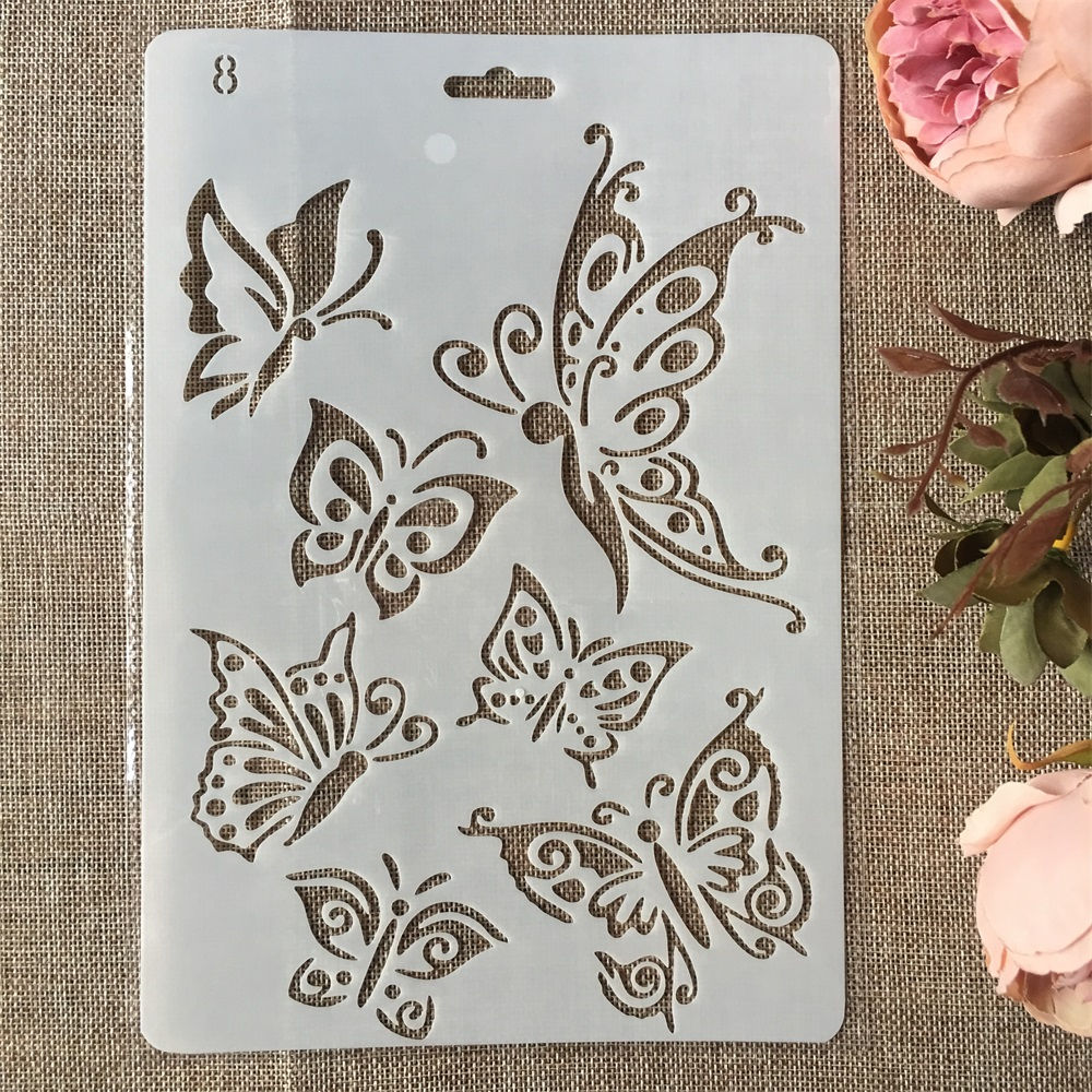 New 26cm Butterflies DIY Craft Layering Stencils Painting Scrapbooking Stamping Embossing Album Paper Card Template