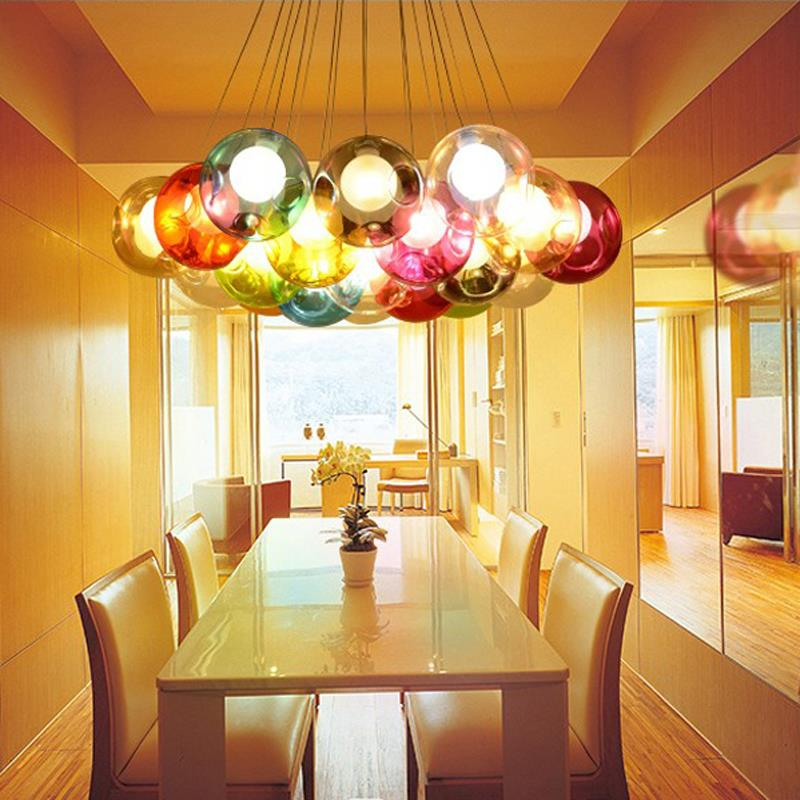 Creative Design Modern LED Colorful Glass Ball Pendant Lights Lamps For Dining  Room Living Room Bar Led G4 96 265V Glass Lights In Pendant Lights From ...