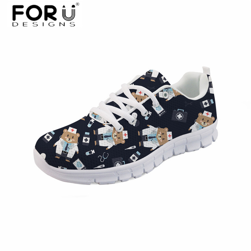FORUDESIGNS Cute Nurse 3D Print Women Flats Fashion Ladies Casual Comfortable Light Lace Up Sneakers Breathable Mesh Flat Shoes forudesigns cute animal dog cat printing air mesh flat shoes for women ladies summer casual light denim shoes female girls flats