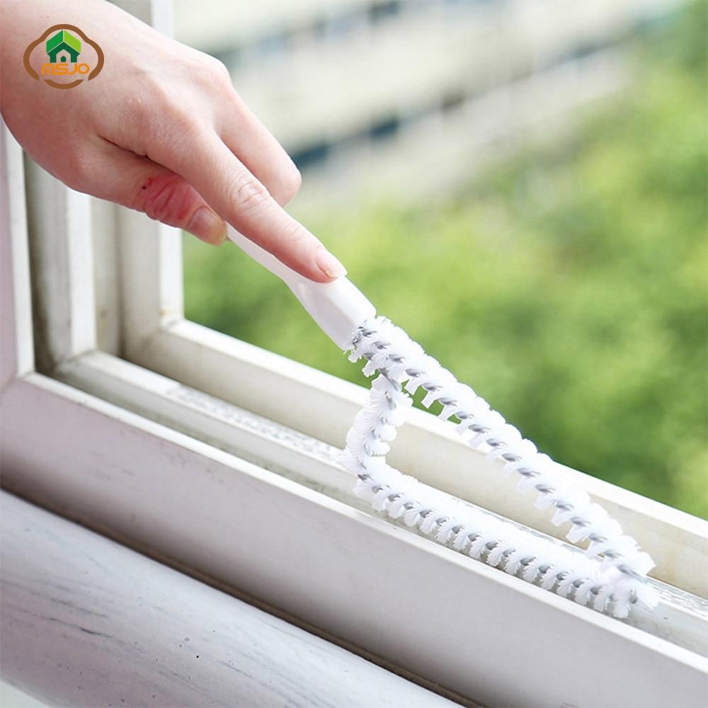 MSJO Window Cleaner Brush Kitchen Straw Groove Gap Wiper Wash Sink Scrubber Detergent Kitchen Multifunction Window Cleaning Tool