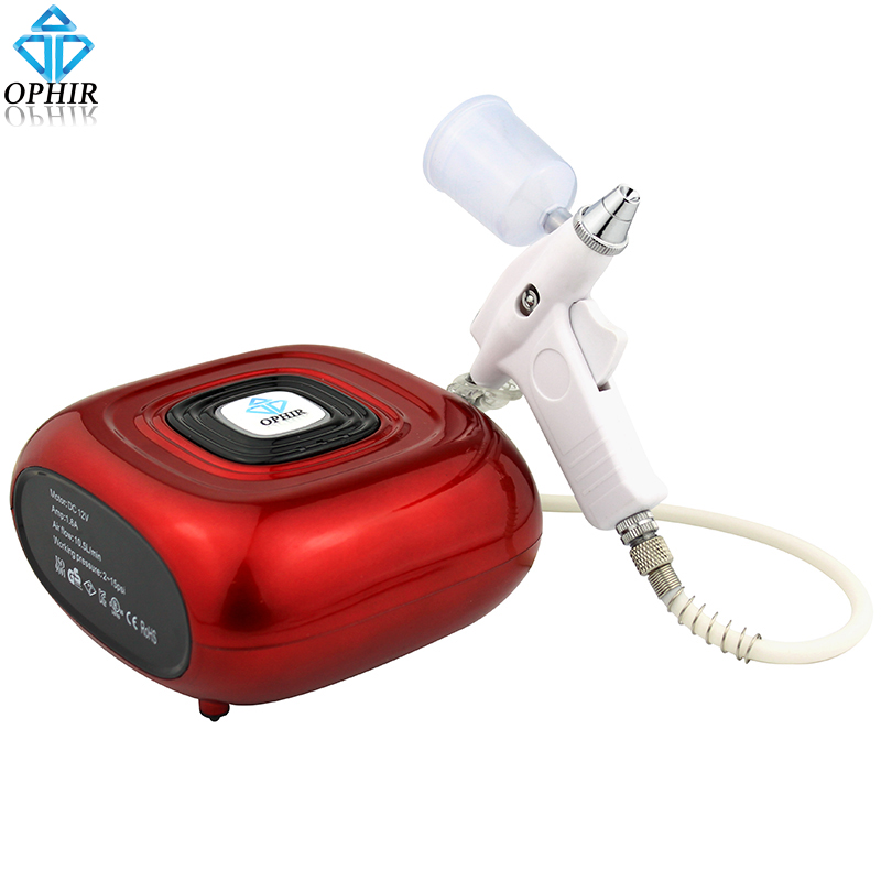OPHIR Red 0.3mm Airbrush Kit with Air Compressor for Model Paint Beauty Essence Spraying Body Art Tattoo Tanning _AC123R+AC124 portable airbrush tanning set body paint kit 1pc mini compressor
