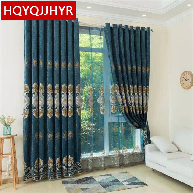 Green Brown Purple 3 Color European Luxury Embroidery Blackout Curtains For Living Room High Quality