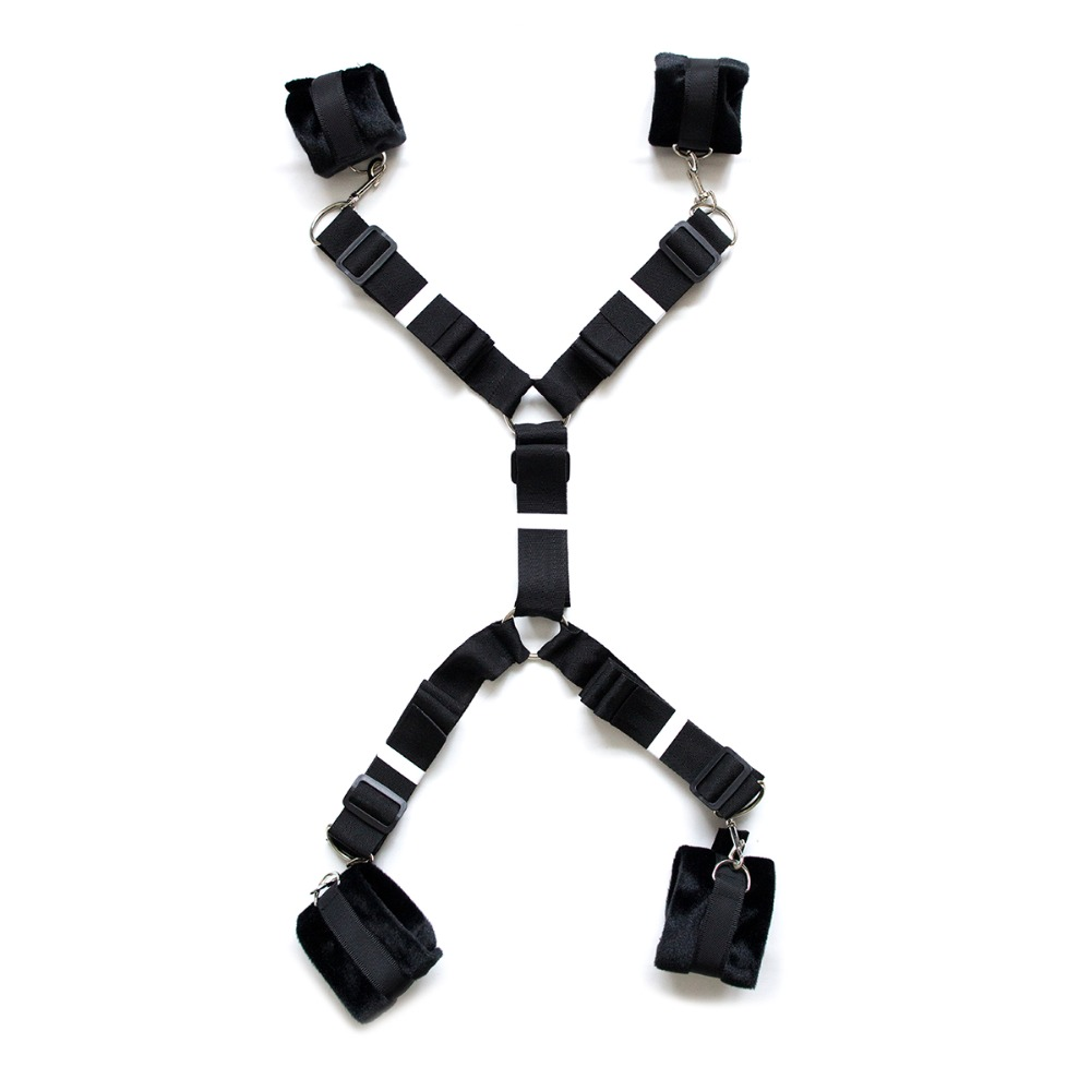 wholesale Amazon Black color in stock  Hand and Ankle Cuffs Belt Sets Bed Sex Bondage Restraints Fetish Sex Products for Couples