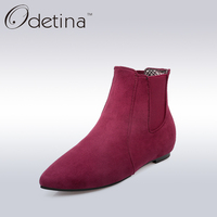 Odetina 2017 Fashion Women Slip On Suede Chelsea Booties Ladies Pointed Toe Non Slip Spring Shoes