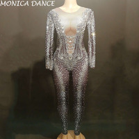 Сексуальный сценический эластичный комбинезон со стразами женский сценический костюм для ночного клуба на день рождения танцевальный нар