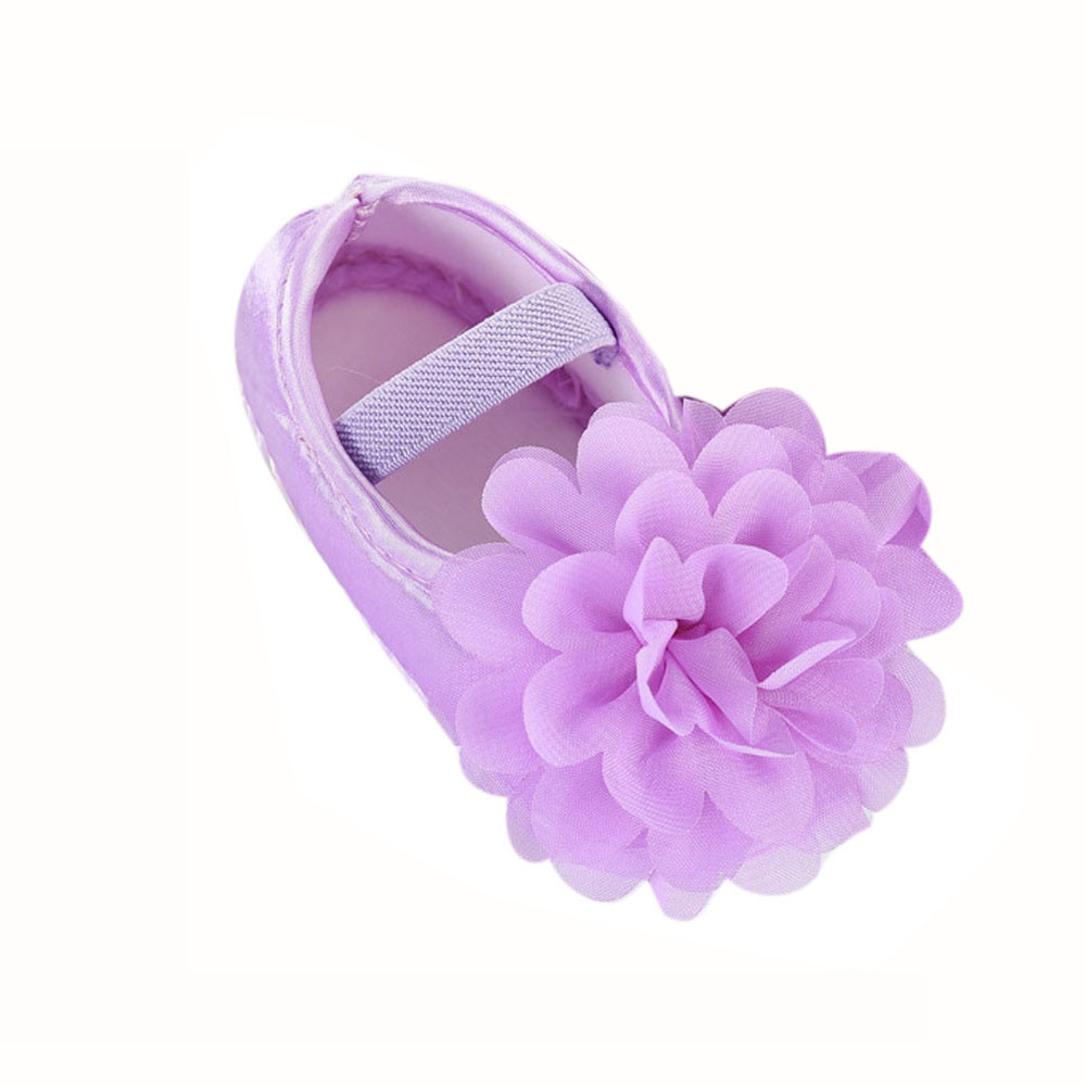 Newborn Elastic Shoes To 18 Month Toddler Kid Baby Girl Chiffon Flower Elastic