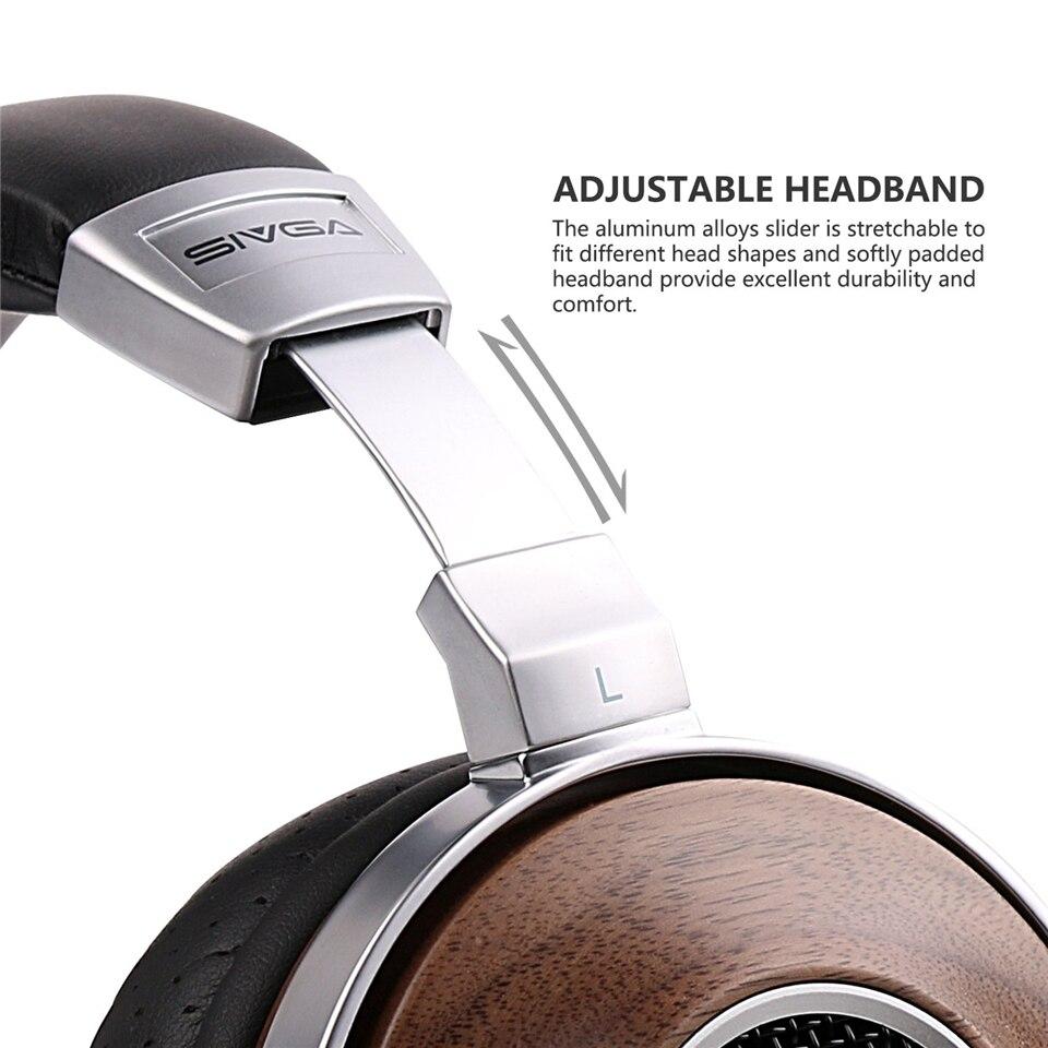 SIVGA SV007 Houten BASS HIFI Stereo Noise Isoliation Over ear DJ Dynamische Wired Hoofdtelefoon met Microfoon - 4
