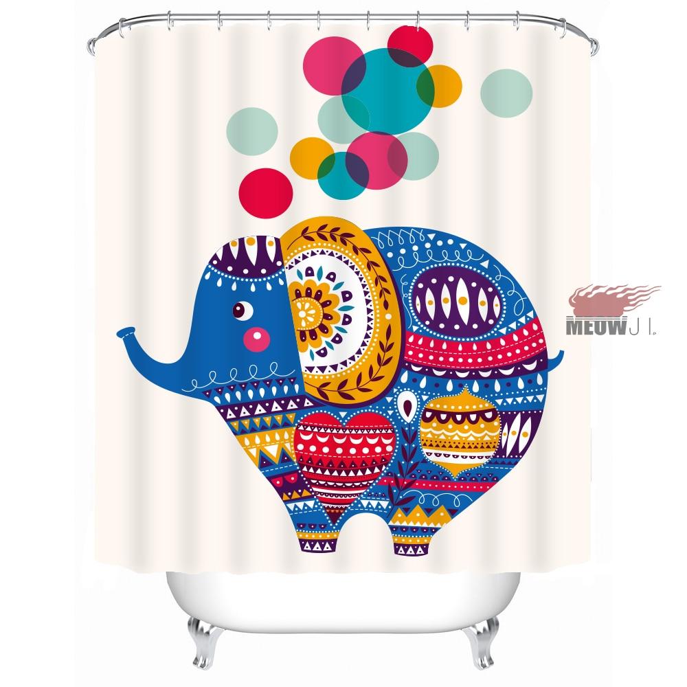 Rainbow Funny Elephant nifty Girl Cute Animal custom Dusjgardin - Husholdningsvarer