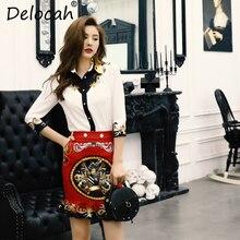 Delocah Women Summer Suits Runway Fashion Designer 3/4 Sleeve Shirt and Character Printed Elegant Vintage Skirt Two Pieces Set é pessard bonjour suzon