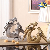 Silver Gold Ceramic Parrot Bird Figurines Home Decor Handicraft Ornement Crafts Room Decoration Porcelain Animal Figurine