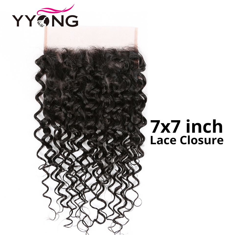 New!!! Large Size 7X7 inch Water Wave Lace Closure 100% Remy Human Hair Lace Closure Free Part Brazillian Frontal Closure(China)