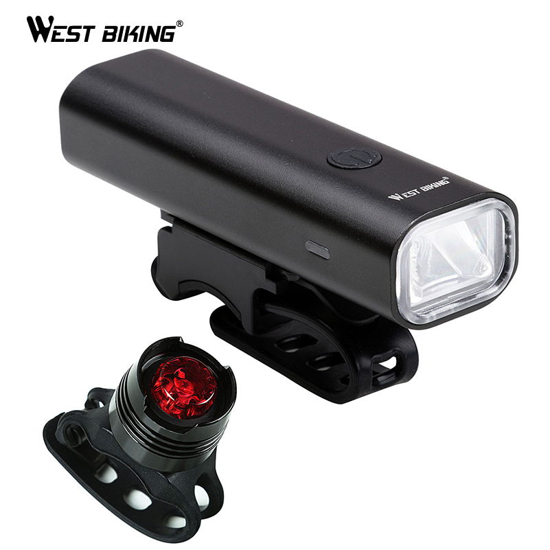WEST BIKING Waterproof Bicycle Light 200 Lumen USB Rechargeable Headlight Taillight LED Cycling Lamp Mountain Bike Flash Light