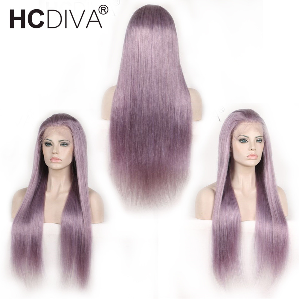 Straight Lace Frontal Wigs Pruple Color Human Hair Wigs Pre Plucked With Baby Hair Natural HairLine Peruvian Remy 130% HCDIVA