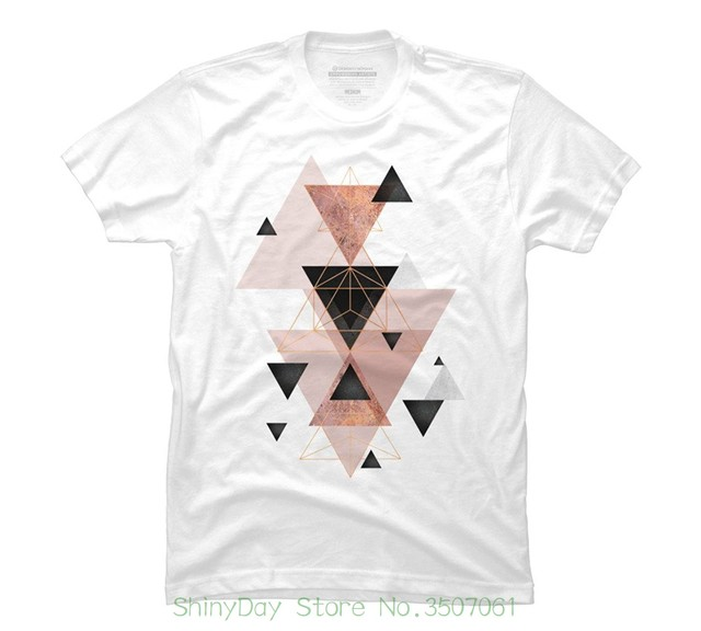 cfa641beb 100 % Cotton Tee Shirt For Men Geometric Triangles In Blush And Rose Gold  Men's Graphic T Shirt