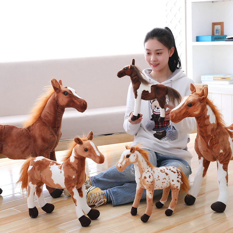 Plush Simulation Horse Toy 4 Styles Stuffed Animal Doll Baby Kids Birthday Gift Home Shop Decor Triver High Quality Toy