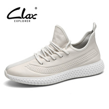 CLAX Man Leather Sneakers Fashion Mens Casual Shoes Genuine Male Walking Footwear Soft