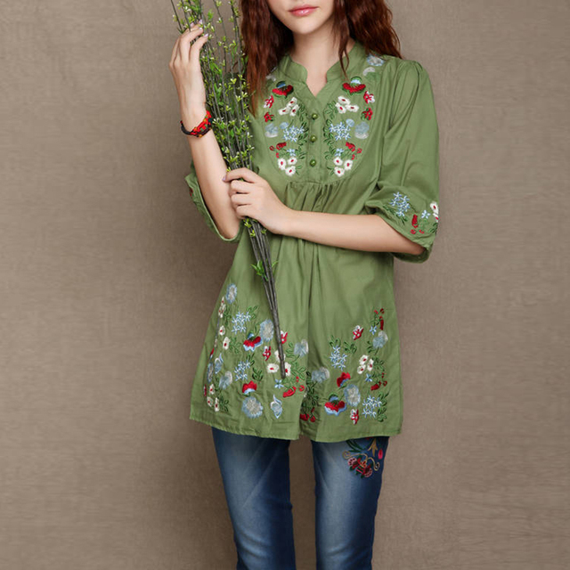 b60257407634c Women Cotton Linen Loose Blouse Shirts Women Spring Summer Floral  Embroidered Ethnic Blouse Casual Plus Size Blouse Oversize Top