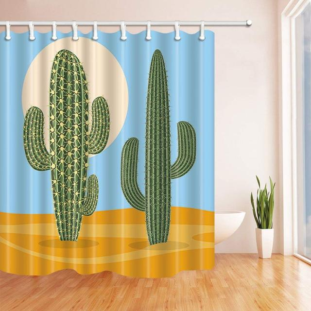 Vector Plant Cactus In Desert Bath Curtain Polyester Fabric Waterproof Shower Curtains Hooks Green
