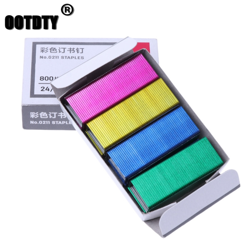 800Pcs/Box 12mm Creative Colorful Metal Staples Office School Binding Supplies Dropshipping