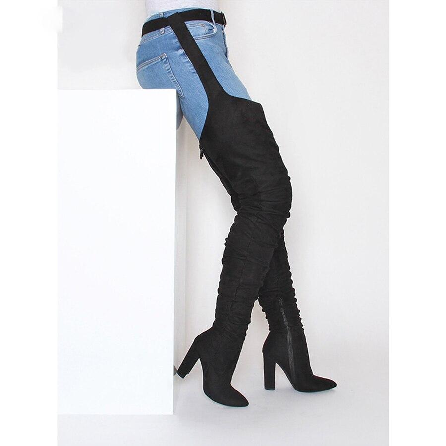 Perixir Rihanna/стильные женские сапоги выше колена с острым носком, плиссированные замшевые высокие сапоги на высоком каблуке, черные пикантные