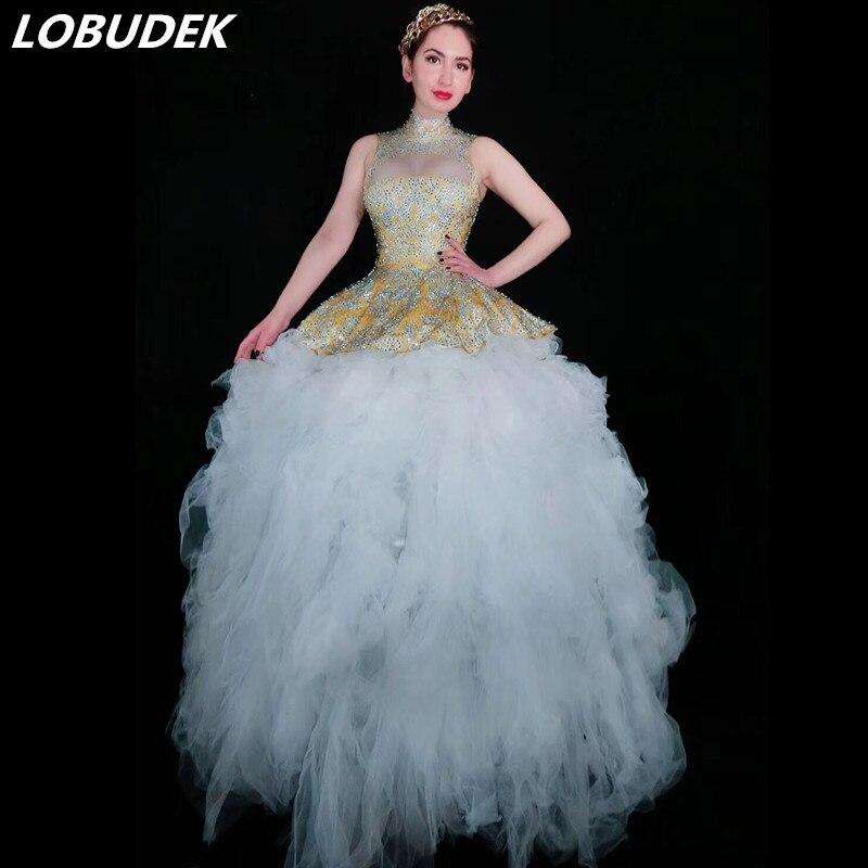 Luxueux femmes scène porter argent Long glands miroirs robe discothèque femme chanteuse Performance Costume hôte robe couture à la main