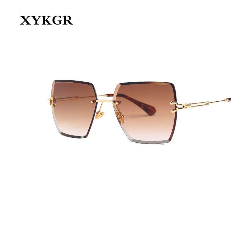 XYKGR fashion frameless square sunglasses ladies brand designer gradient 2019 new UV400