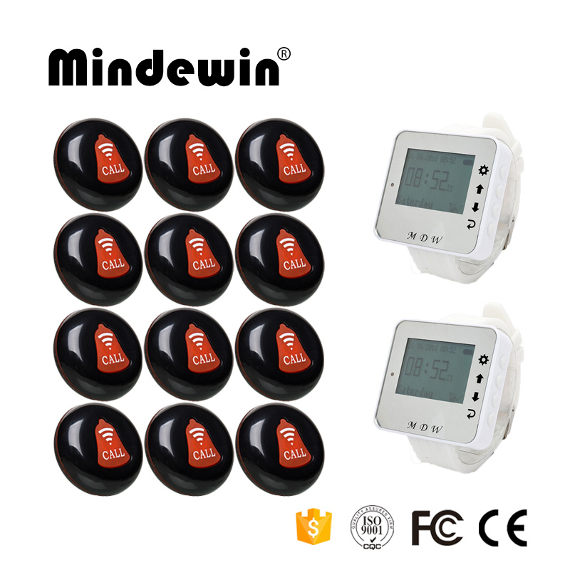 Mindewin 12PCS Service Call Button M-K-1 + 2PCS Watch Pager M-W-1 Wireless Waiter Call Paging System For Restaurant Or Cafe Shop wireless bell button for table service and pager display receiver showing call number for simple queue wireless call system