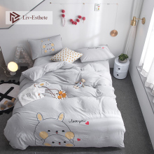 Liv-Esthete Hot Sale Wholesale Funny Cartoon Bedding Set Gray Soft Duvet Cover Flat Sheet Pillowcase Double Queen King Bed Linen