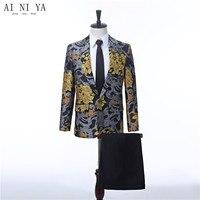 Для мужчин Жених Свадебный костюм Slim Fit формальный мужской костюм новые конструкции Винтаж цветочный узор жених смокинг Для мужчин пиджаки