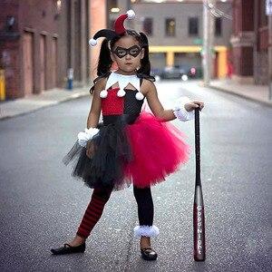 Cosplay Suicide Squad Harley Quinn Dress Clown Girl Sorcerer Tutu Headdress Uniform Child Girl Kids Halloween Christmas Dresses(China)