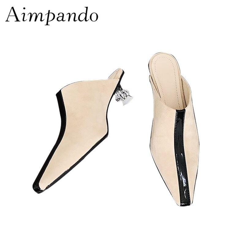 Étrange Chaussures Mules Printemps Femmes Femme Cristal Mince Gommage Pantoufles Talon Bout Carré Nouvelle Daim Arrivée Apricot 2019 4rvEwxq74