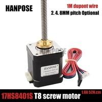 Nema 17 Stepper Motor 17HS8401s T8 Screw motor 410mm Rod Linear motor with Trapezoidal Lead Srew for 3D printer
