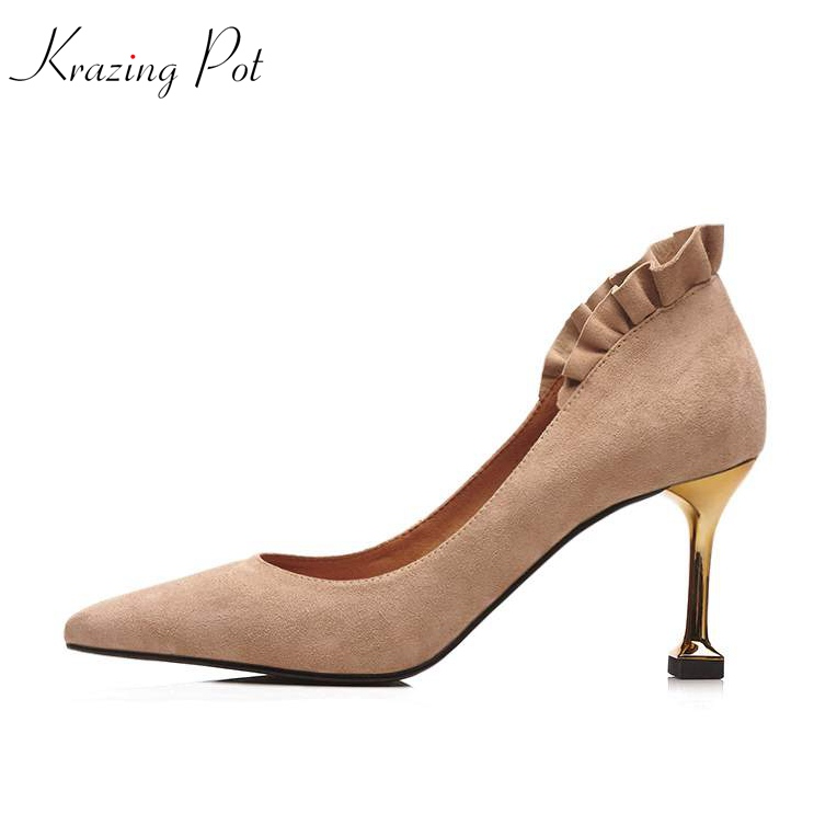 Krazing Pot sheep suede European style slip on pumps pointed toe lacework concise metal hin high heels brand leather shoes L13 krazing pot fashion brand shoes genuine leather slip on pointed toe concise lazy style strange high heels women cozy pumps l73