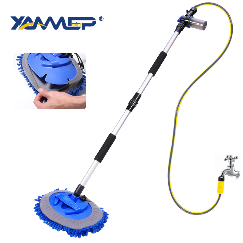Car Wash Brush Cleaning Mop Chenille Broom Water Flow Cleaning Windows Long Handle Foam Bottle Car Accessories Xammep
