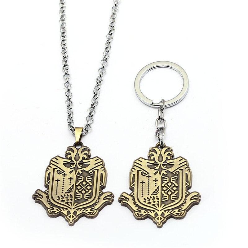 New Game Monster Hunter Online Keychain Metal World Guild Logo Key Ring Colar Pendant Porte Clef Kolye Men Gift llavero HF12800